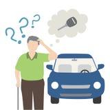 Le vieil homme oublient sa clé de voiture Images stock
