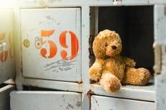 Le vieil ours de nounours seul se repose dans le casier photos libres de droits