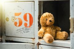 Le vieil ours de nounours seul se repose dans le casier image stock