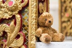 Le vieil ours de nounours seul se repose dans le temple thailand image libre de droits