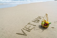 Le Vietnam écrit sur le sable Images stock