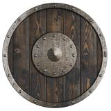 Le vieux bouclier en bois de ` de Vikings a isolé l'illustration 3d Photo stock