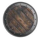 Le vieux bouclier en bois de Vikings a isolé l'illustration 3d Photo stock