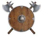 Le vieux bouclier en bois et deux de ` de Vikings ont croisé des haches d'isolement image libre de droits