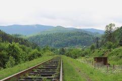 Le vieux chemin de fer va aux montagnes boisées Photos libres de droits