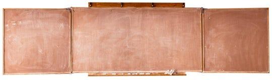 Le vieux conseil scolaire d'isolement sur le fond blanc Photographie stock libre de droits