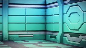 Le vieux couloir réaliste de la science fiction de vaisseau spatial, 3D rendent illustration libre de droits