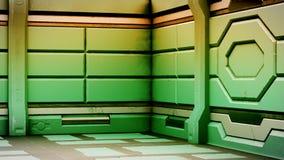 Le vieux couloir réaliste de la science fiction de vaisseau spatial, 3D rendent illustration de vecteur