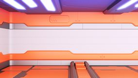 Le vieux couloir réaliste de la science fiction de vaisseau spatial, 3D rendent illustration stock