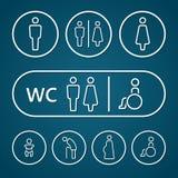 Le vieux et le bébé enceintes hommes-femmes d'estropié de toilettes signent la course d'ensemble illustration libre de droits