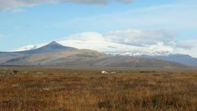 Le vieux glacier islandais par temps ensoleillé, nuages sont sur le dessus, vue des champs secs dans le temps d'automne clips vidéos