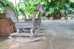 Le vieux jouet en bois pour le cheval de basculage Photos libres de droits