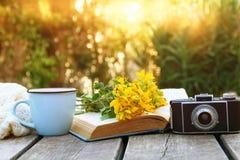 le vieux livre, appareil-photo de photo de vintage à côté de champ fleurit Photos stock