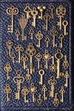 Le vieux métal de vintage de Steampunk verrouille le fond sur le cuir Photographie stock libre de droits