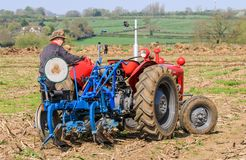 Le vieux massey rouge fergusen le tracteur au match de labourage Images stock