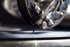 Le vieux phonographe Fermez-vous vers le haut de la vue Foyer sélectif Département peu profond photo stock