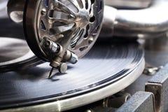 Le vieux phonographe Fermez-vous vers le haut de la vue Foyer sélectif Département peu profond photos libres de droits
