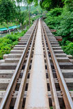 Le vieux pont de chemin de fer le long des arbres appelés Image stock