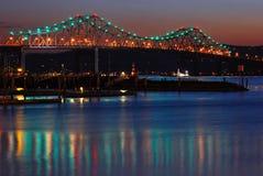 Le vieux pont de Tappan Zee enjambe le Hudson Photo libre de droits