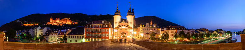 Le vieux pont et porte à Heidelberg Image libre de droits
