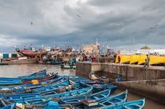 Le vieux port d'Essaouira, Maroc Image libre de droits