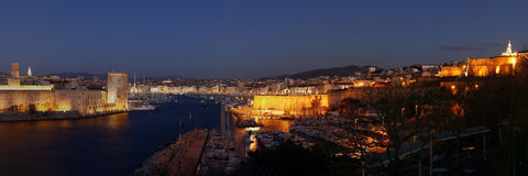 Le Vieux Port de Marseille, France. By night royalty free stock photo