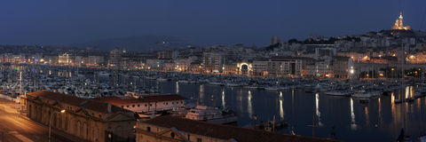 Le Vieux Port de Marseille, France. By night royalty free stock image