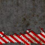 Le vieux risque rouge et blanc barre le mur de signe [01] Photographie stock