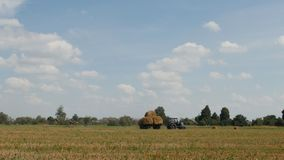 Le vieux tracteur avec les balles tordues de paille conduit par le champ de ferme, agriculture banque de vidéos