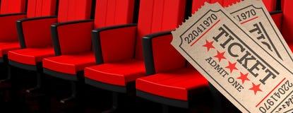Le vieux type de cinéma étiquette la bannière beige et rouge de fond de sièges de salle de cinéma, l'illustration 3d illustration stock