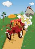 Le vieux véhicule et animaux. Pique-nique dans le pays. Ca Photos libres de droits