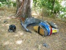 Le vieux vélomoteur a truqué l'accident dans les régions boisées photo libre de droits
