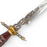 Le vieux vintage de poignard a découpé rare et collectable d'isolement sur le blanc illustration 3D Photo stock