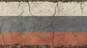 Le vieux vintage grunge s'est fané drapeau de Fédération de Russie Photo libre de droits