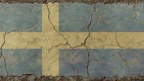 Le vieux vintage grunge s'est fané drapeau de la Suède Photo libre de droits