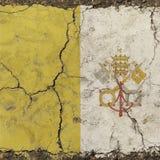 Le vieux vintage grunge s'est fané drapeau de Ville du Vatican Photographie stock