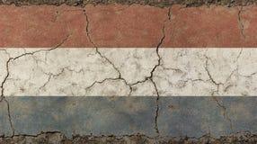 Le vieux vintage grunge s'est fané drapeau des Pays-Bas Images stock