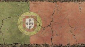Le vieux vintage grunge s'est fané drapeau du Portugal Images libres de droits