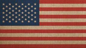 Le vieux vintage s'est fané drapeau américain des USA au-dessus de toile photo libre de droits