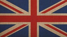 Le vieux vintage s'est fané drapeau BRITANNIQUE de la Grande-Bretagne au-dessus de toile image stock