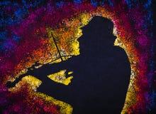 Le vieux violoniste crée les bruits divins Photos libres de droits