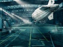 Le vieux zeppelin se tient dans le hangar Photos stock