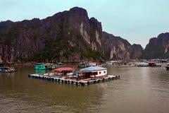 Le village de flottement de Kuah blême près de l'île de Daw Guo dans Halong aboient au Vietnam Les bateaux authentiques nationaux Photo libre de droits