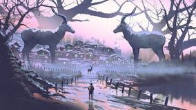 Le village de l'impala légendaire illustration de vecteur