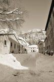 Le village de San Leo en hiver Photo libre de droits
