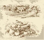 Le village renferme le croquis avec la nourriture Photo stock