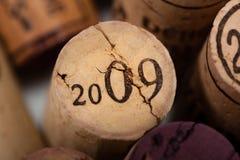 Le vin bouche le plan rapproché avec le vintage 2009 Images libres de droits