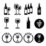 Le vin dactylographie - les icônes rouges, blanches, roses réglées Photographie stock