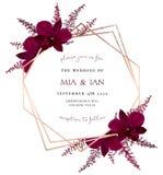 Le vin de Marsala a coloré l'orchidée exotique foncée, vecteur rouge d'astilbe de Bourgogne illustration de vecteur