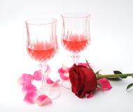 Le vin et s'est levé Photographie stock